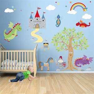 enchanted royal knights and dragon nursery wall stickers With enchanting ideas decals for kids walls