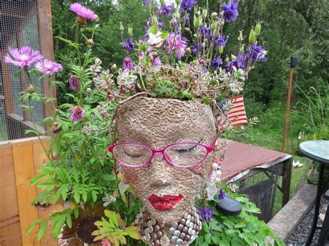 Styrofoam Heads Garden Pots-cute And Unique
