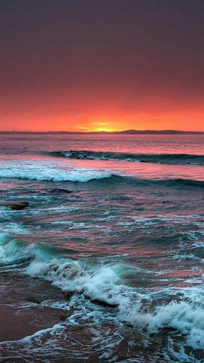 Sunset Sea Horizon Surf Iphone Beach Waves