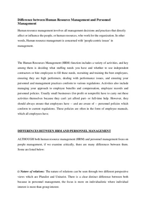 difference  human resource management  personnel