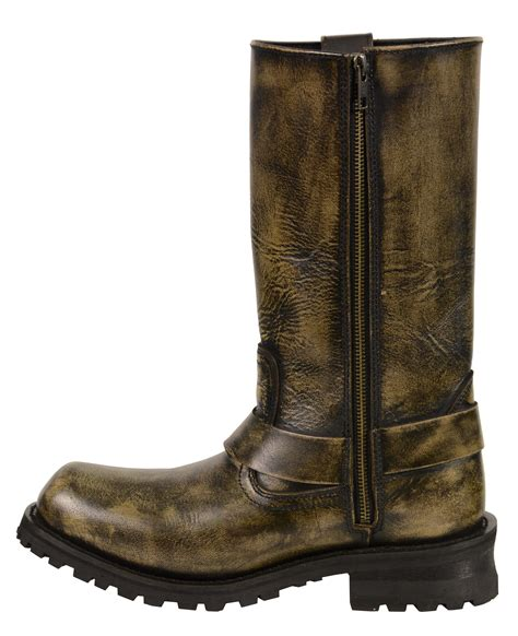 mens brown motorcycle boots men 39 s motorcycle genuine leather distressed brown 11 inch