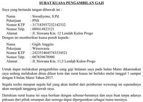 contoh surat kuasa pengambilan uang  bank bni info