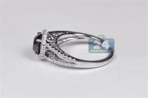 Womens Black Diamond Engagement Ring 18k White Gold 1.98 Ct