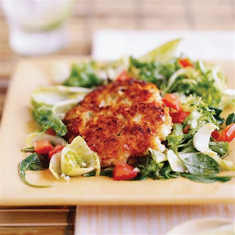 crab cakes  spring green salad  lime dressing
