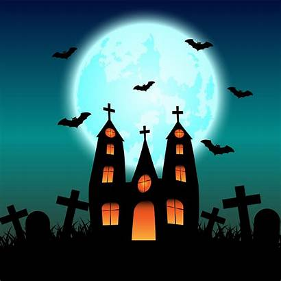 Halloween Haunted Moon Glowing Vector Background Related