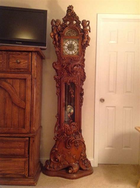 fine italian sold wood grandfather clock antique