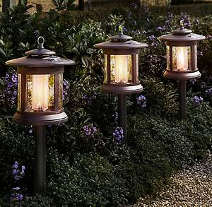 Bronze Solar Stake Lights Solar Round Path Lights Set Of 4