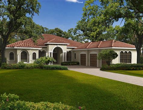 This one story Mediterranean style waterfront home
