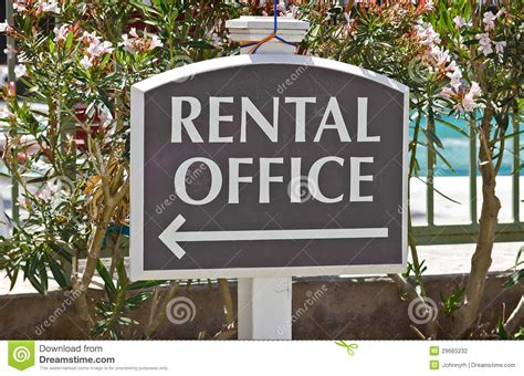 rental office sign stock photography image
