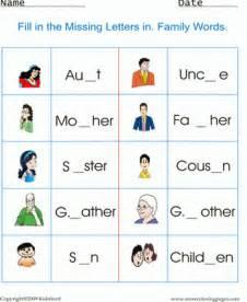 Family Members Worksheets for Kids