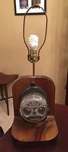 Rare    Vintage    Antique Electric Meter Table Lamp    Steampunk
