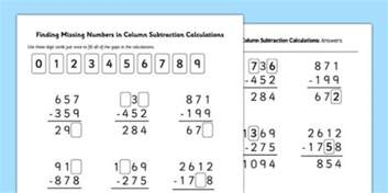 find missing numbers in column subtraction calculations inverse missing