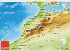 Physical 3D Map of Morocco