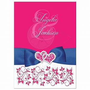 Hot pink white floral printed royal blue ribbon wedding for Wedding invitation designs fuchsia pink