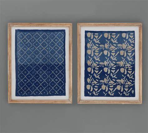 pottery barn prints framed blue textile pottery barn