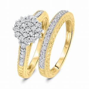 3 4 carat diamond bridal wedding ring set 10k yellow gold With 10k yellow gold wedding ring set