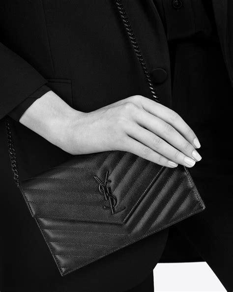 saint laurent envelope chain wallet  grain de poudre embossed leather  black lyst