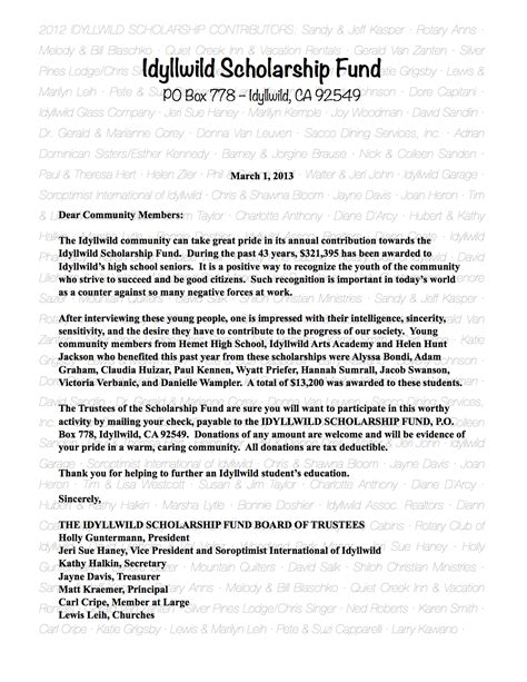 appeal letter idyllwild scholarship fund