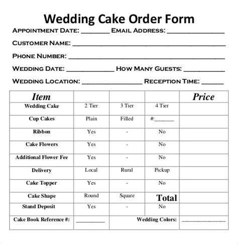 cake order form template wedding order template 38 free word pdf psd vector format free premium templates