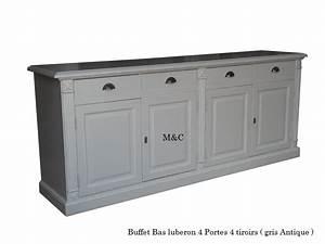 Buffet Bas Bois : buffet bois massif 4 portes 4 tiroirs ~ Teatrodelosmanantiales.com Idées de Décoration