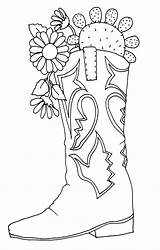 Cowgirl Boots Drawing Coloring Fancy Hat Boot Getdrawings sketch template