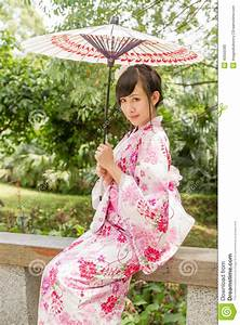 Asian, Woman, Wearing, A, Kimono, In, Japanese, Style, Gar, Stock, Photo