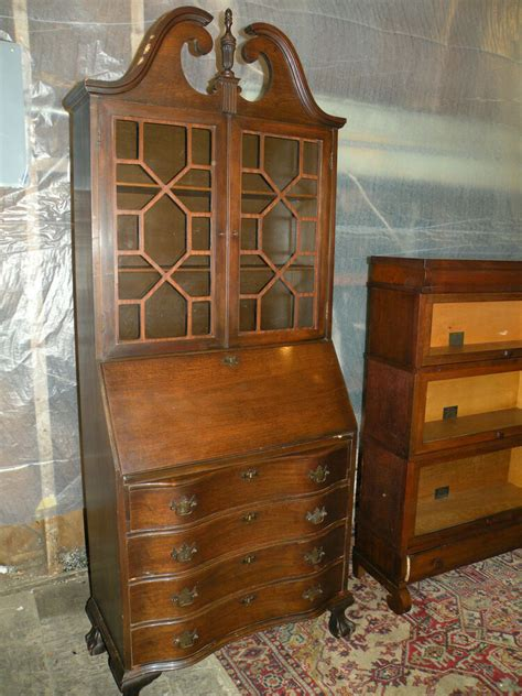 Bookcase With Drop Desk by Federal Chippendale Style Mahogany Drop Front Desk