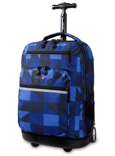 rolling backpack laptop bag wheeled bookbag carry  luggage school college tote jwc