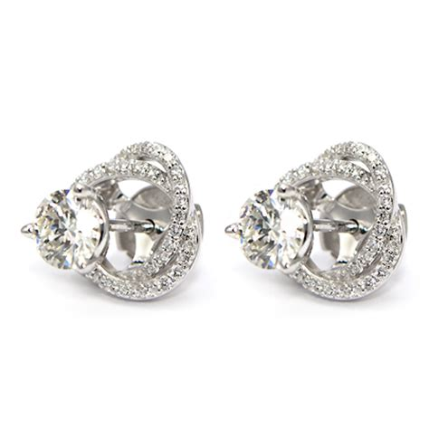 diamond stud earring jackets spiral pave wixon jewelers