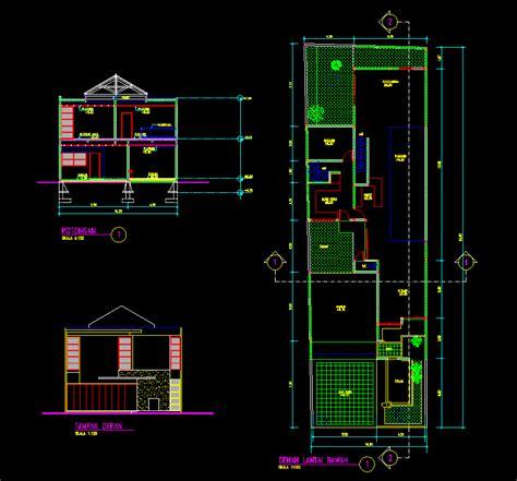 kotakcad desain rumah tinggal  lantai  meter
