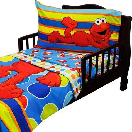 elmo comforter set 4pc sesame toddler bedding set elmo polka dots comforter and sheet set walmart