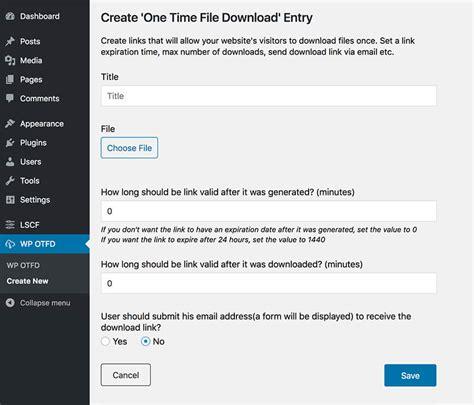 wp  time file  unique link generator