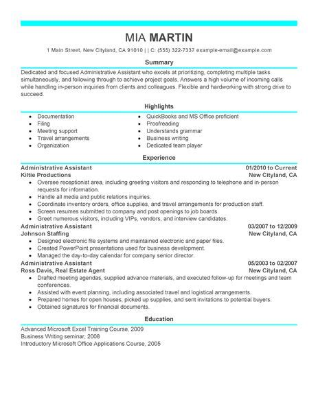 resume for administrative officer position best administrative assistant resume exle livecareer