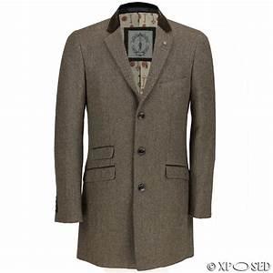 Mens Long Coat Wool Mix Herringbone Tweed Vintage Trench ...