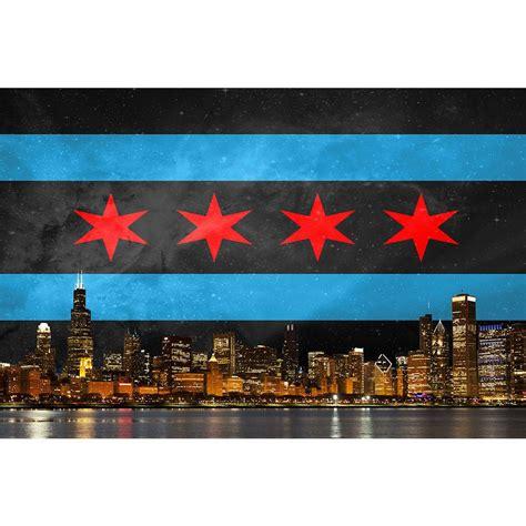 black chicago flag skyline zapwalls