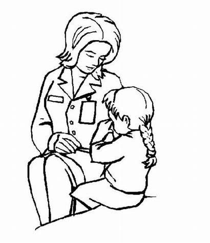 Coloring Nurse Comforting Crying Pages Child Doctor
