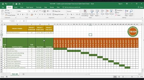tech  create  quick  simple time  gantt chart  excel youtube