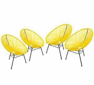 Fauteuil Fil Plastique : lot 4 fauteuils acapulco jaune 369 salon d 39 t ~ Edinachiropracticcenter.com Idées de Décoration