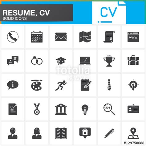 Adding Clipart To Resume by Quot Vector Icons Set For Resume Or Cv Modern Solid Symbol Collection Filled Pictogram Pack