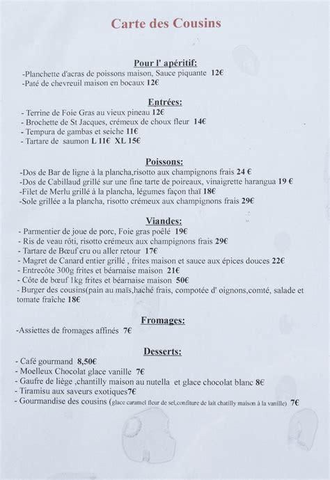 cuisine traditionnelle file restaurant l 39 atelier des cousins carte 2013 1 jpg