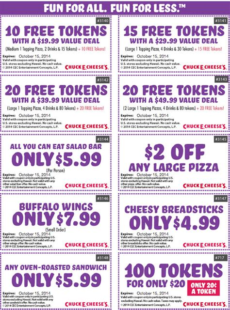 Chuck E Cheese Coupons - Chuck E Cheese Printable Coupons ...