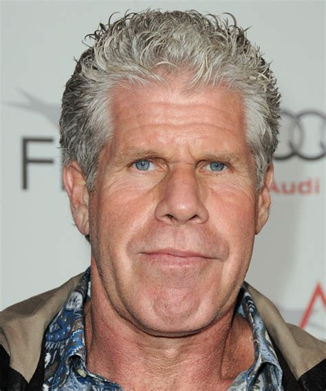 ron perlman casual short straight hairstyle light grey
