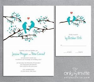turquoise wedding invitation and info card love bird With wedding invitations with trees and birds