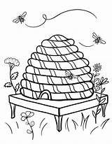 Beehive Bee Coloring Hive Printable Bumble Sheet Sheets Coloringcafe Honey Bees Clipart Pdf Nature Template Embroidery Drawings Button Standard Prints sketch template