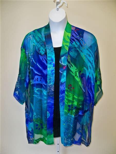 tropical silk kimono jacket  size