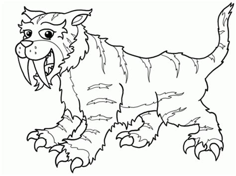 saber tooth tiger coloring pages  print