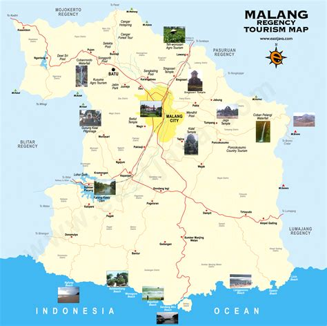 peta wisata kabupaten  kota malang