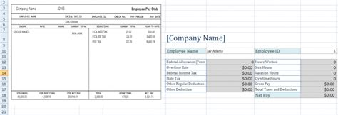 pay stub template excel free employee pay stub excel template microsoft excel templates