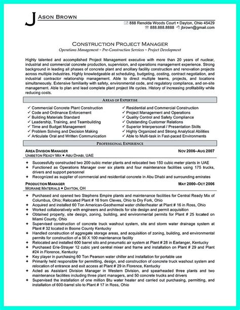 Experienced Project Manager Resume by Construction Project Manager Resume For Experienced One
