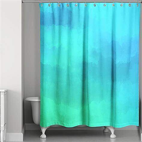 Watercolor Waterlife Shower Curtain in Blue/Green   Bed